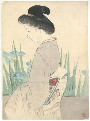 Kajita Hanko: Eight Plank Bridge (Lady in Iris Garden) - Robyn Buntin of Honolulu