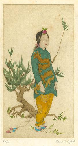 Elyse Ashe Lord: Oriental Girl & Pine Tree - Robyn Buntin of Honolulu