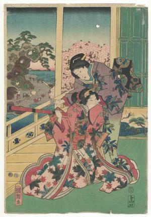 Utagawa Kuniteru: Genji Observing Flower Arranging - Robyn Buntin of Honolulu