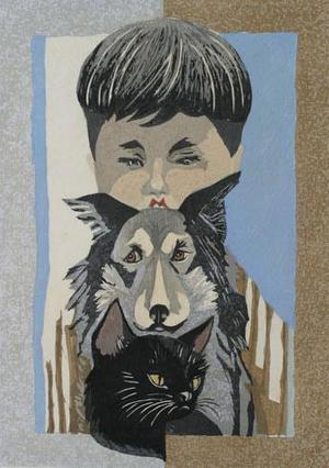 関野準一郎: Boy with Dog and Cat - Robyn Buntin of Honolulu