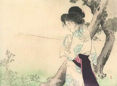 水野年方: Woman Near a Tree - Robyn Buntin of Honolulu