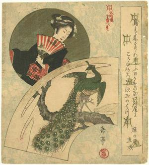 Yashima Gakutei: Geisha and Peacock - Robyn Buntin of Honolulu