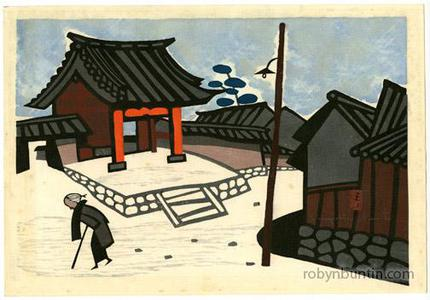 朝井清: Old Woman in Snow - Robyn Buntin of Honolulu