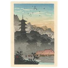 渡辺省亭: Evening Glow on Pagoda - Robyn Buntin of Honolulu