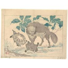 河鍋暁斎: Wolf with Turtles - Robyn Buntin of Honolulu