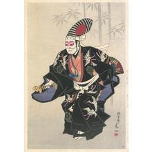 名取春仙: Ichikawa Ennosuke as Sambaso in Black Kimono - Robyn Buntin of Honolulu