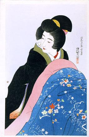 伊東深水: The Second Series of Modern Beauties: Footwarmer (Gendai bijinshu dai-nishu: Kotatsu) - Scholten Japanese Art