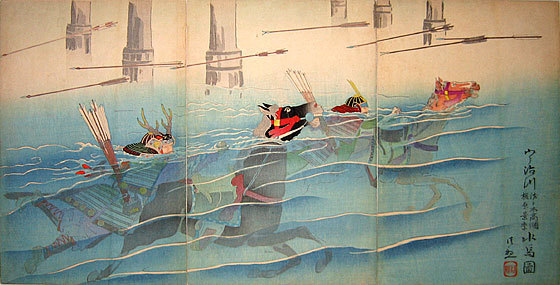 小林清親: Kajiwara Kagesue and Sasaki Kakatsuna on Horses at Uji Bridge (Uji Gawa Kajiwara Kagesue, Sasaki Kakatsuna, Mizu Uma) - Scholten Japanese Art