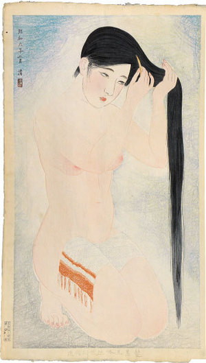 朝井清: Styles of Contemporary Make-up: no. 5, Glossy Black Hair (Kindaijisesho no uchi: go, Kurokami) - Scholten Japanese Art