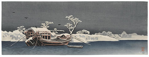 Takahashi Hiroaki: Snowy Landscape with Boat - Scholten Japanese Art