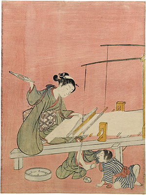 鈴木春信: Weaving - Scholten Japanese Art