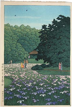 川瀬巴水: Sobu iris garden, Meiji shrine (Meiji jingu Sobuen) - Scholten Japanese Art