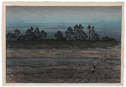 伊東深水: Evening on the River, Tamagawa (Tamagawa Hara no Yu) - Scholten Japanese Art