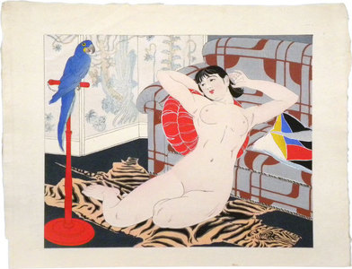 石川寅治: Ten Types of Female Nudes: Blue Parrot (Rajo jusshu: Buryu inko) - Scholten Japanese Art