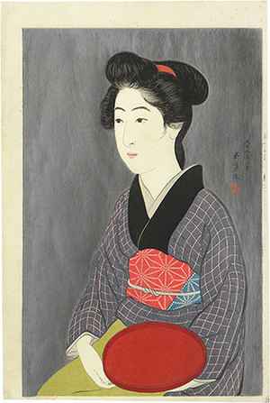 橋口五葉: Woman Holding a Tray - Scholten Japanese Art