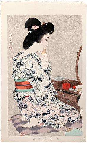 鳥居言人: Ayame Yukata (Cotton Kimono with Iris Pattern) - Scholten Japanese Art