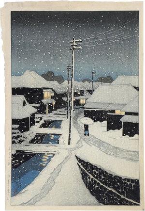 川瀬巴水: Twelve Scenes of Tokyo: Evening Snow at Terajima Village (Tokyo Junikkei: Kure no yuki Terajima mura) - Scholten Japanese Art