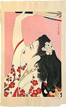 Shimura Tatsumi: Five Figures of Modern Beauties: Playing Battledore and Shuttlecock (Gendai Bijin Fuzoku Gotai: Oibane [hagoita?]) - Scholten Japanese Art