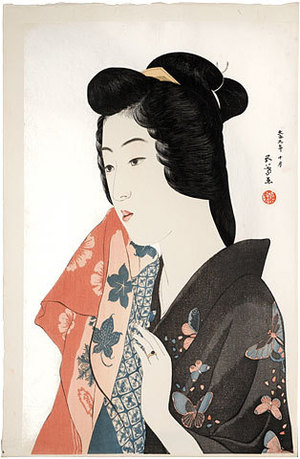 橋口五葉: Woman Holding a Towel (Tenugui Moteru Onna) - Scholten Japanese Art