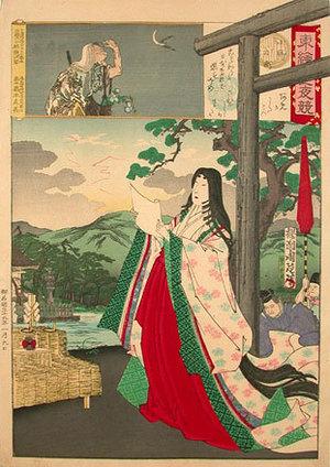 豊原周延: Edo Embroidery Picture, Comparison of Day and Night: Ono no Komachi (Azuma Nishiki Chuya Kurabe: Ono no Komachi) - Scholten Japanese Art
