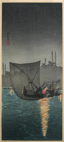 Takahashi Hiroaki: Night fishing nets at Tukuda (Tukuda no yo ami) - Scholten Japanese Art