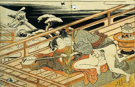 磯田湖龍齋: Prosperous Flowers of the Elegant Twelve Seasons: couple playfully make love on the veranda in winter - Scholten Japanese Art