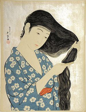 橋口五葉: Woman Combing her Hair (Kami sukeru onna) - Scholten Japanese Art