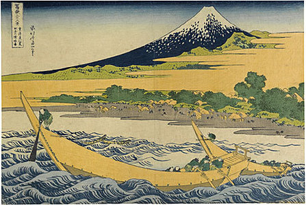 葛飾北斎: Thirty-Six Views of Mt. Fuji: Tago Bay Near Ejiri on the Tokaido (Fugaku sanju-rokkei: Tokaido Ejiri Tago-no-ura Ryakuzu) - Scholten Japanese Art