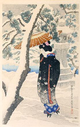 伊東深水: The First Series of Modern Beauties: Snow at the Shrine (Gendai bijinshu dai-isshu: Shato no yuki) - Scholten Japanese Art