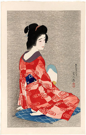 鳥居言人: Long Undergarment (darker grey background) (Nagajuban) - Scholten Japanese Art