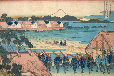 葛飾北斎: Thirty-Six Views of Mt. Fuji: Fuji as Seen from the Senju Pleasure Quaters [Edo] (Fugaku sanju-rokkei: Senju kagai yori chobo no Fuji) - Scholten Japanese Art
