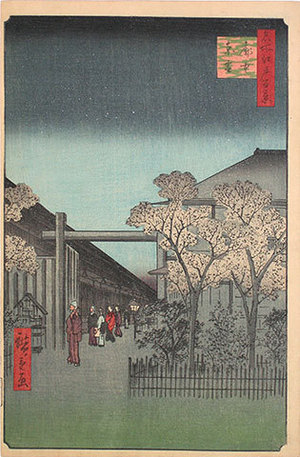歌川広重: One Hundred Famous Views of Edo: Dawn in the Yoshiwara (Meisho Edo hyakkei: Kakuchu shinonome) - Scholten Japanese Art