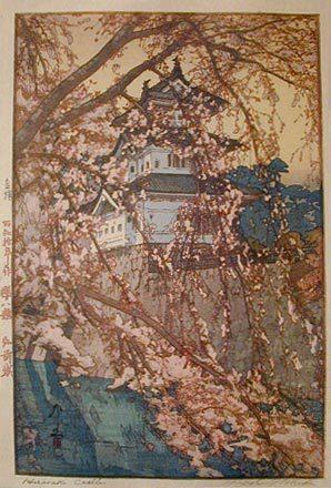 吉田博: Eight Scenes of Cherry Blossoms: Hirosaki Castle (Sakura haddai: Hirosakijo) - Scholten Japanese Art