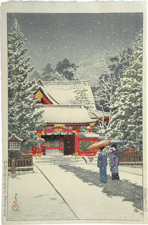 川瀬巴水: Snow at Hie Shrine (Shato no yuki [Hie jinja]) - Scholten Japanese Art