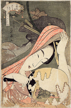 一楽亭栄水: Beauties for the Five Festivals: Tsukasa of the Ogiya (Biijin Gosekku: Ogiya Tsukasa akeiha keioko) - Scholten Japanese Art