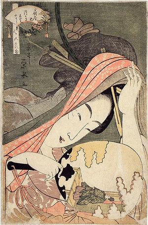 Ichirakutei Eisui: Beauties for the Five Festivals: Tsukasa of the Ogiya (Biijin Gosekku: Ogiya Tsukasa akeiha keioko) - Scholten Japanese Art