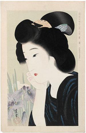 Kondo Shiun: Collection of New Ukiyo-e Style Beauties: June, Irises (Shin Ukiyo-e Bijin Awase: Roku-Gatsu, Shobu) - Scholten Japanese Art