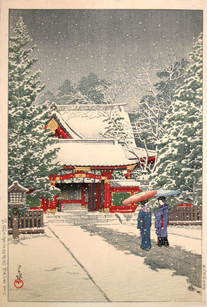川瀬巴水: Snow at Hinoeda Shrine (Shatô no yuki, Hinoedajinja) - Scholten Japanese Art