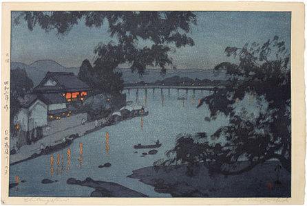 Yoshida Hiroshi: Evening on the Chikugo River, Hita (blue variant) (Hita Chikagogawa no yoru) - Scholten Japanese Art