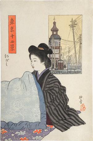 石井柏亭: Twelve Views of Tokyo: Shinbashi (Tokyo Junikei: Shinbashi) - Scholten Japanese Art