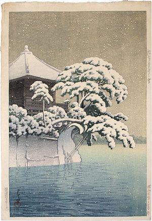 川瀬巴水: Collection of scenic views of Japan, eastern Japan edition: Snow at Godaido Temple in Matsushima (Nihon fukei shu higashi Nihon hen: Matsushima Godaido no yuki) - Scholten Japanese Art