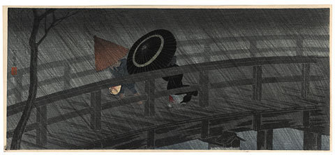 Takahashi Hiroaki: Rain on Izumi Bridge (Izumibashi no Ame) - Scholten Japanese Art