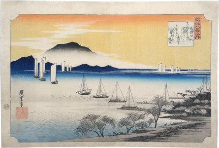 歌川広重: Eight Views of Omi: Returning Sails at Yabase (Omi Hakkei: Yabase no kihan) - Scholten Japanese Art