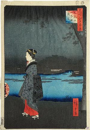歌川広重: One Hundred Famous Views of Edo: Night View of Sanya Canal, Matsuchi Hill (Meisho Edo hyakkei: Matsuchi-yama, San-ya-bori yakei) - Scholten Japanese Art