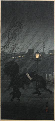 Takahashi Hiroaki: Sudden Shower [Near a Bridge] (Niwaka ame) - Scholten Japanese Art