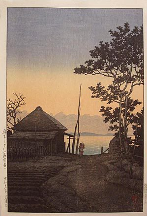 Kawase Hasui: Evening at Asao, Ibaragi prefecture (Asao no yu: Ibaragiken) - Scholten Japanese Art