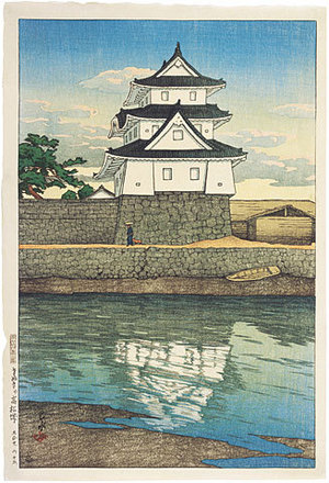 Kawase Hasui: Souvenirs of Travel, Second Series: Takamatsu Castle in Sanuki (Tabi miyage dainishu: Tabi Miyage Dai Nishu: Sanuki no Takamatsujo) - Scholten Japanese Art
