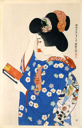 Ito Shinsui: The First Series of Modern Beauties: HandMirror (Gendai bijinshu dai-isshu: Tekagami) - Scholten Japanese Art
