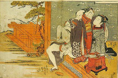 磯田湖龍齋: Prosperous Flowers of the Elegant Twelve Seasons: young girl watching couple making love sitting up on the veranda - Scholten Japanese Art