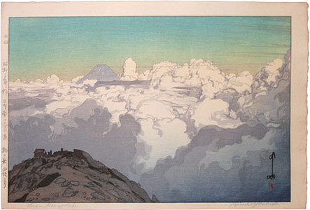 Yoshida Hiroshi: The Southern Japan Alps Series: From the Summit of Komagatake (green-blue variant) (Nihon Minami Alps Shu: Komagatake sancho yori) - Scholten Japanese Art
